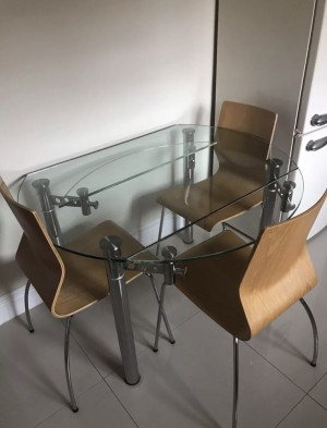 Glass table and x4 wooden chairs FREE to a good home, £2 delivery locally