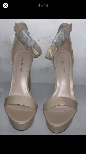 beige heels? - selling a pair of new beige heels, size 6 - never be