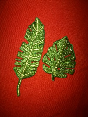 leaf iron on sew on patch nature indie