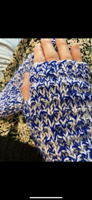 Blue and white fingerless knitted gloves