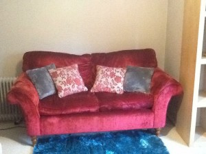 Laura Ashley Crushed Red Velvet sofa