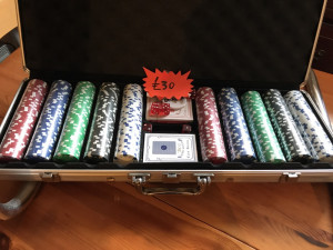 Poker set for sale, comes with 2 packs of cards, 5 dice and 5 sets of 50 chips
