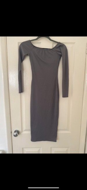 Boohoo rib grey dress bodycon size 6