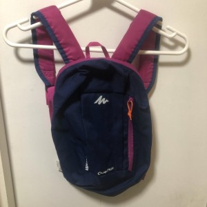 pink and blue back pack