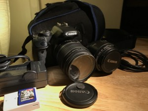 Canon EOS 450D + 50mm 1.8 + stock lens (incl. carry bag, 2 batteries, charger, 4GB SDHC card)