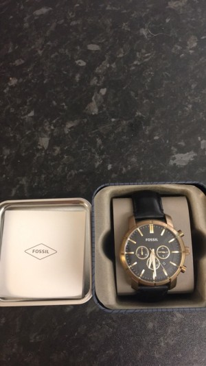 Real genuine leather gold and black fossil watch