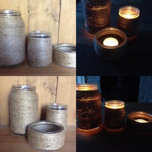hand made mason jar glass and twine candle holders