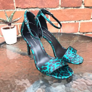 New Look Green Leopard Print Strappy Toe Ankle Strap High Heel 3 Party