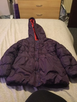 Girls Mothercare Navy & Red Hooded Puffer Coat - Aged 4-5 Years