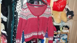 red Christmas cardigan size 14 fatface