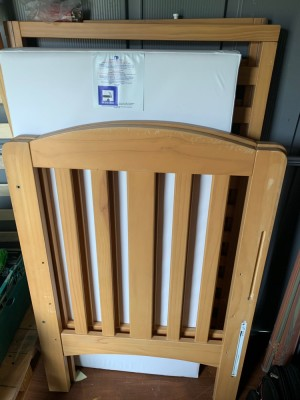 mother care bed frame with mattress for sale, size pls check mattress