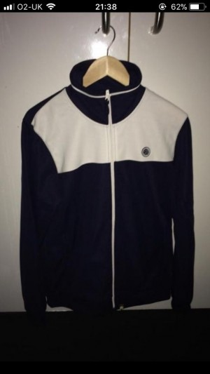 White & Navy Blue Large Pretty Green zipper