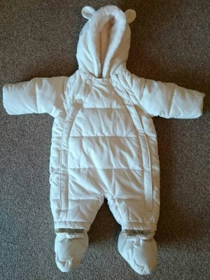 White Snowsuit - Up to 1 month