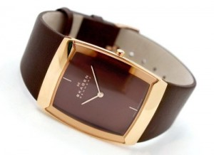 Skagen Men's Quartz Brown Dial Analogue Display and Brown Leather Strap 584LRLM