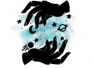 The universe in my hands sticker