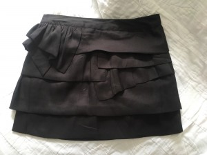 Topshop black ruffle mini skirt, UK8