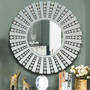 Contemporary Round Diamond effect Wall Mirror