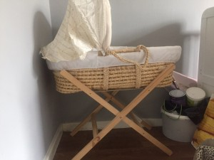 Moses basket, with mattress and  stand