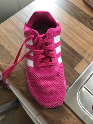 Pink and white canvas trainers Adidas
