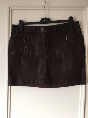 Next chocolate brown coated jeans mini skirt - SIZE 14