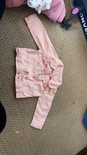 Pink denim jacket 9-12 months