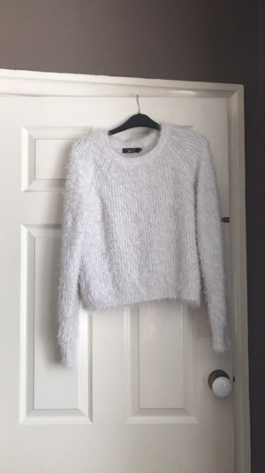 white New Look fluffy jumper