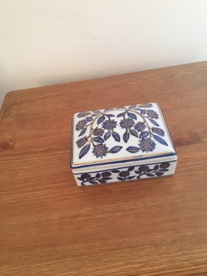 China navy and gold trinket box