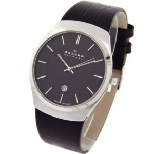 Skagen Men's Quartz Black Dial Analogue Display and Black Leather Strap 925XLSLB