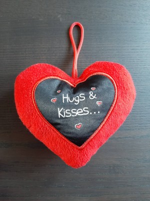 Hugs and Kisses plush heart with hook
