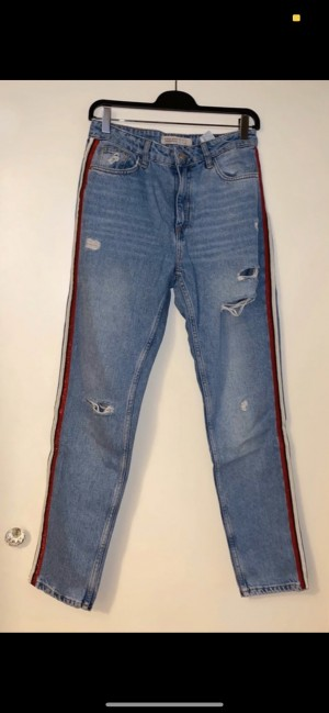 Zara jeans with red and white stripe