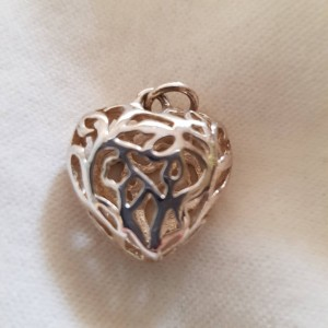 Silver Coloured Lattice Heart Pendant