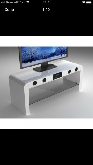 High gloss Bluetooth speakers system TV Unit Stand
