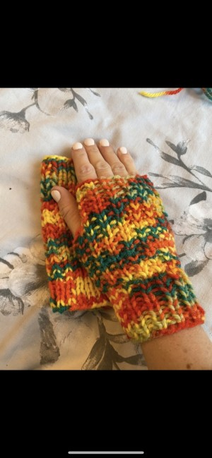 Colourful knitted wool gloves fingerless