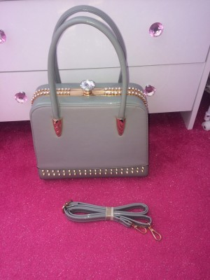Ladies Grey Diamanté Handbag