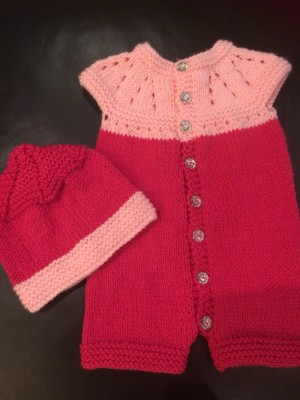 Hand knitted baby girl romper set