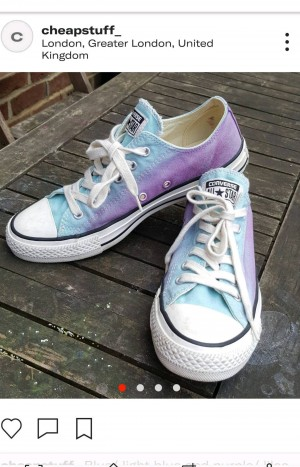 Blue/ light blue and purple/ lilac 'all star converse shoes that are in size uk 5 (24cm). They are a unique colour way and will jazz up any outfit!