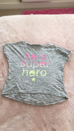 Grey top with rainbow writing from H&M. 8-10 years.£3.00