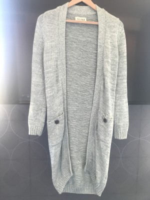 'Desires' Long Length Pale Green Cardigan - Size S