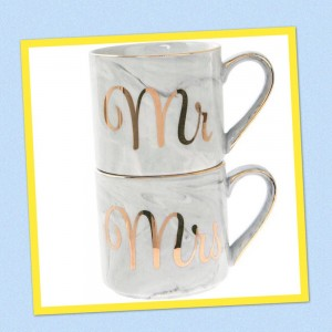 Marble And Gold Mr & Mrs Stacking Mugs