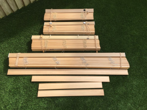 Wood blinds in various sizes