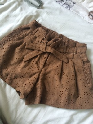 Miss Selfridge brown suede look cut out shorts UK 4