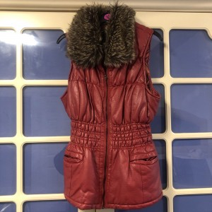 Leather faux fur gilet
