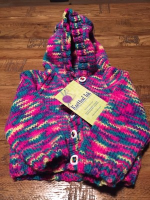 Hand Knitted Funky Chick hoodie