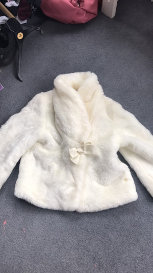 Ted baker cream to white fur coat, age 14 -£20