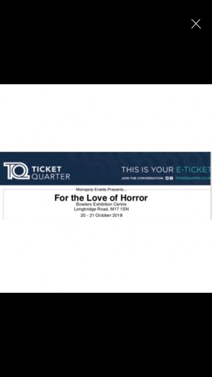 'For the love of horror' halloween weekend tickets