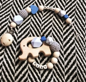 Baby boy personalised natural wood handmade dummy clip & teether gift set