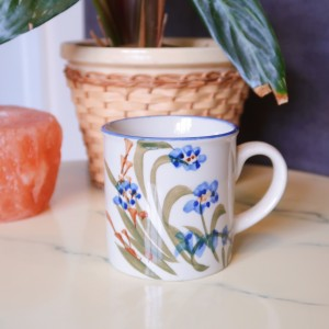 Vintage Stoneware Hand Painted Floral Coffee Cup