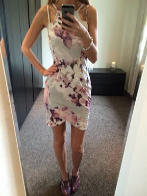 Floral Asymmetric Hem Double Strap Bodycon Dress
