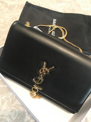 Black cross body bag with gold chain  £55