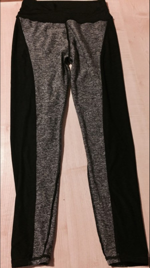 Ladies' black and grey running/exercise leggings